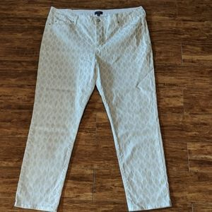 NYDJ White and Gold Lattice Print Ankle Pants 18